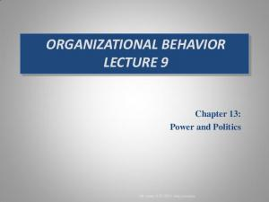 ORGANIZATIONAL BEHAVIOR LECTURE 9