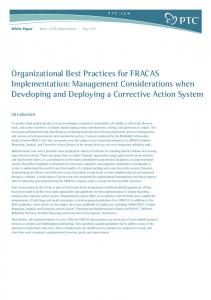 Organizational Best Practices for FRACAS Implementation: Management Considerations when Developing and Deploying a Corrective Action System