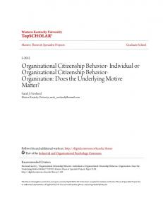 Organizational Citizenship Behavior- Individual or Organizational Citizenship Behavior- Organization: Does the Underlying Motive Matter?