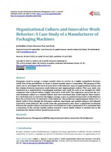 Organizational Culture and Innovative Work Behavior: A Case Study of a Manufacturer of Packaging Machines