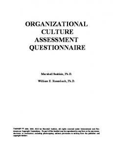 ORGANIZATIONAL CULTURE ASSESSMENT QUESTIONNAIRE