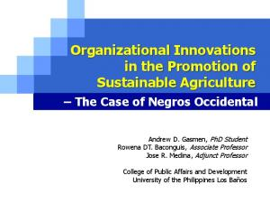 Organizational Innovations in the Promotion of Sustainable Agriculture