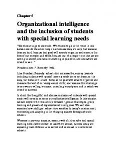 Organizational intelligence and the inclusion of students with special learning needs