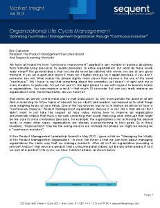 Organizational Life Cycle Management Optimizing Your Product Management Organization Through Continuous Evolution