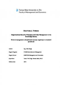 Organizational Security Processes and Crisis Management in the Knowledge Society. 6208V038 Management and Economics