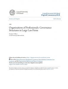 Organizations of Professionals: Governance Structures in Large Law Firms