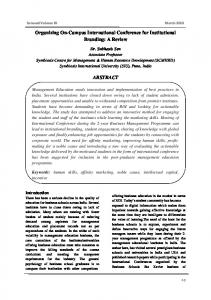 Organizing On-Campus International Conference for Institutional Branding: A Review ABSTRACT
