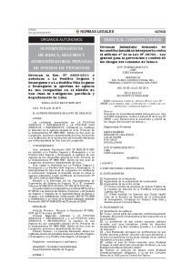 ORGANOS AUTONOMOS TRIBUNAL CONSTITUCIONAL SUPERINTENDENCIA DE BANCA, SEGUROS Y ADMINISTRADORAS PRIVADAS DE FONDOS DE PENSIONES