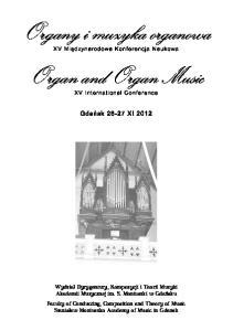 Organy i muzyka organowa Organ and Organ Music