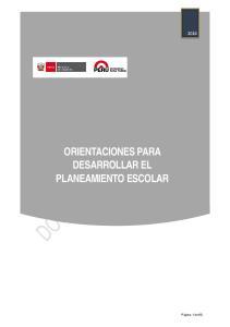 ORIENTACIONES PARA DESARROLLAR EL PLANEAMIENTO ESCOLAR