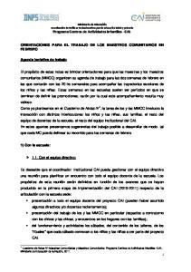 ORIENTACIONES PARA EL TRABAJO DE LOS MAESTROS COMUNITARIOS EN FEBRERO