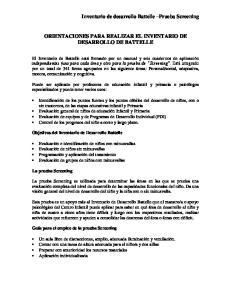 ORIENTACIONES PARA REALIZAR EL INVENTARIO DE DESARROLLO DE BATTELLE