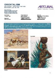 ORIENTALISM AUCTION SALE ORIENTALIST PAINTINGS WEDNESDAY, JUNE 19th, 4PM