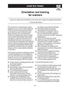 Orientation and training for mentors