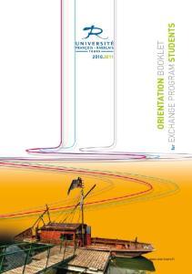 ORIENTATION BOOKLET. for EXCHANGE PROGRAM STUDENTS