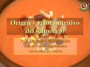 Origen y valor nutritivo del salmorejo