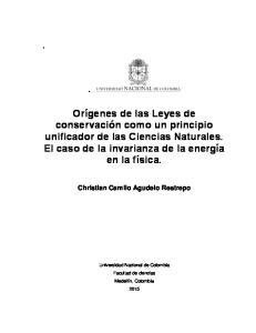 Orígenes de las Leyes de conservación como un principio unificador de las Ciencias Naturales. El caso de la invarianza de la energía en la física