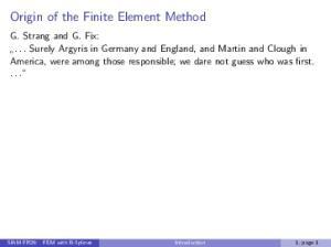 Origin of the Finite Element Method