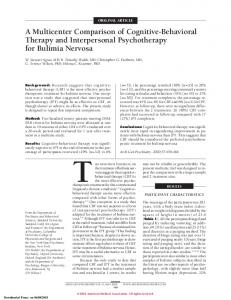 ORIGINAL ARTICLE. A Multicenter Comparison of Cognitive-Behavioral Therapy and Interpersonal Psychotherapy for Bulimia Nervosa