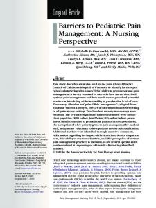 Original Article Barriers to Pediatric Pain Management: A Nursing Perspective