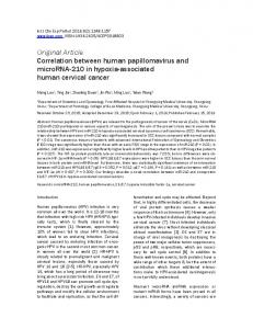 Original Article Correlation between human papillomavirus and microrna-210 in hypoxia-associated human cervical cancer