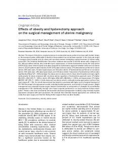 Original Article Effects of obesity and hysterectomy approach on the surgical management of uterine malignancy