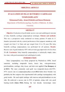 ORIGINAL ARTICLE EVALUATION OF INLAY BUTTERFLY CARTILAGE TYMPANOPLASTY