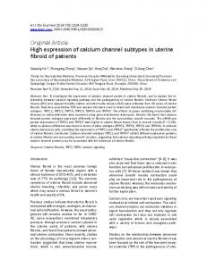 Original Article High expression of calcium channel subtypes in uterine fibroid of patients