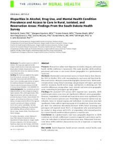 ORIGINAL ARTICLE. Key words health disparities, health services research, mental health, rural health, substance use