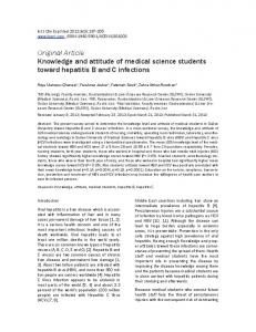 Original Article Knowledge and attitude of medical science students toward hepatitis B and C infections