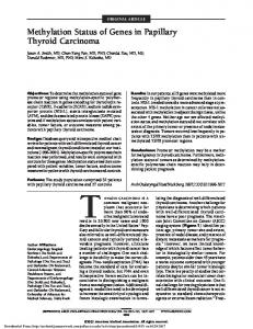 ORIGINAL ARTICLE. Methylation Status of Genes in Papillary Thyroid Carcinoma