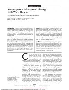 ORIGINAL ARTICLE. Neurocognitive Enhancement Therapy With Work Therapy