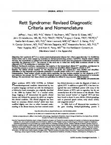 ORIGINAL ARTICLE. Rett Syndrome: Revised Diagnostic Criteria and Nomenclature