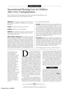 ORIGINAL ARTICLE. Sensorineural Hearing Loss in Children After Liver Transplantation