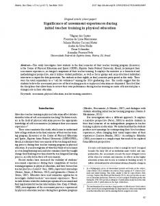 Original article (short paper) Significance of assessment experiences during initial teacher training in physical education