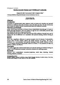 Original Article Socioeconomic Status and Childhood Leukemia