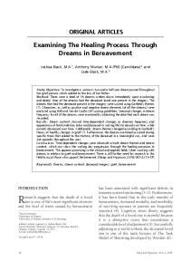 ORIGINAL ARTICLES. Examining The Healing Process Through Dreams in Bereavement