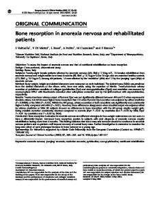 ORIGINAL COMMUNICATION Bone resorption in anorexia nervosa and rehabilitated patients