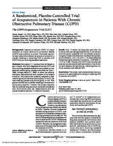 ORIGINAL INVESTIGATION. A Randomized, Placebo-Controlled Trial of Acupuncture in Patients With Chronic Obstructive Pulmonary Disease (COPD)