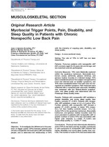 Original Research Article Myofascial Trigger Points, Pain, Disability, and Sleep Quality in Patients with Chronic Nonspecific Low Back Pain