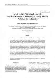 Original Research Multivariate Statistical Analysis and Environmental Modeling of Heavy Metals Pollution by Industries