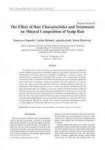 Original Research The Effect of Hair Characteristics and Treatments on Mineral Composition of Scalp Hair