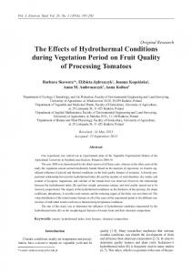 Original Research The Effects of Hydrothermal Conditions during Vegetation Period on Fruit Quality of Processing Tomatoes