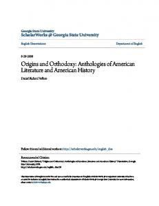 Origins and Orthodoxy: Anthologies of American Literature and American History