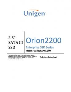 Orion SATA III SSD. Enterprise SSD Series Model: UGB88RAAXXXXXX. Solution Datasheet