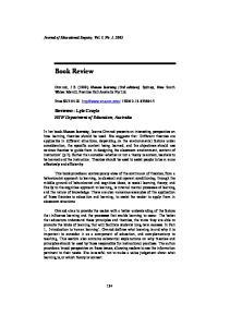 Ormrod, J E (1999) Human learning (3rd edition), Sydney, New South Wales: Merrill, Prentice Hall Australia Pty Ltd