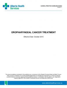 OROPHARYNGEAL CANCER TREATMENT