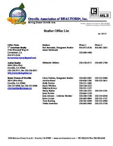 Oroville Association of REALTORS, Inc