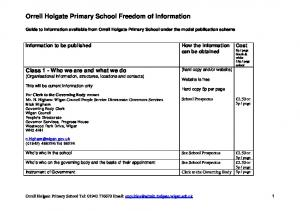Orrell Holgate Primary School Freedom of Information