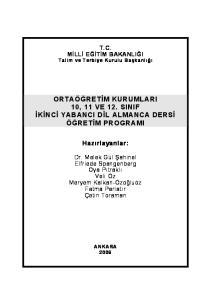 ORTAÖĞRETİM KURUMLARI 10, 11 VE 12. SINIF İKİNCİ YABANCI DİL ALMANCA DERSİ ÖĞRETİM PROGRAMI